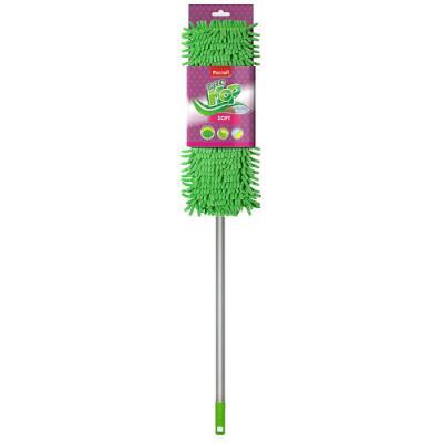 PACLAN Швабра Green Mop soft с плоской насадкой шенилл и телескопической ручкой 1 шт швабра vileda экстра на плоской подошве с телескопической ручкой 321100360