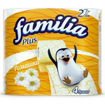 Familia PLUS Туалетная бумага Ромашка 2 слоя, 4шт туалетная бумага 500 евро