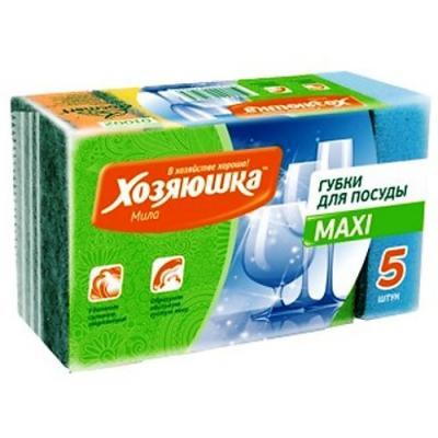 ХОЗЯЮШКА Мила Губка для посуды MAXI 5шт сушилка для посуды хозяюшка альтернатива м1768