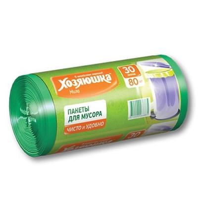 ХОЗЯЮШКА Мила Пакеты для мусора 30л в рулоне 80ш пакеты д мусора премиум повышенной прочности 30л в пластах 20 шт 930984
