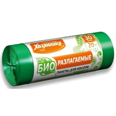 ХОЗЯЮШКА Мила Пакеты для мусора 30л 20шт биоразлагаемые в рулоне