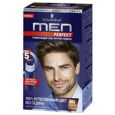 MEN PERFECT 60 Тонирующий гель для мужчин Средне-каштановый 60 80мл тонирующий гель для мужчин men perfect 80 натуральный черно каштановый