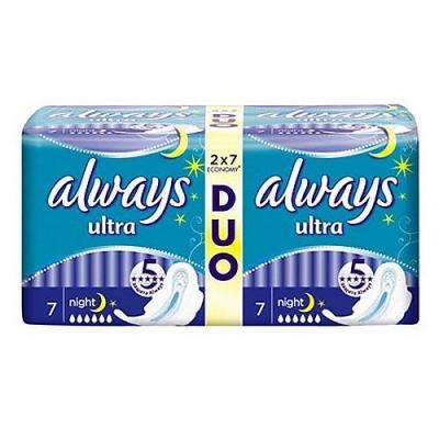 Прокладки впитывающие Always Ultra Night Duo 14 шт AL-83715794S always ultra light quatro al 83734556 36шт
