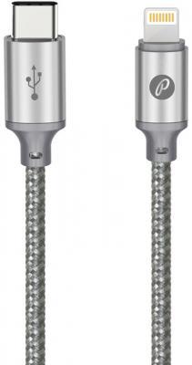 Кабель Type-C Lightning 1м Partner 038387 круглый серый кабель lightning 1м pqi i cable круглый 6pcb 001r0013a