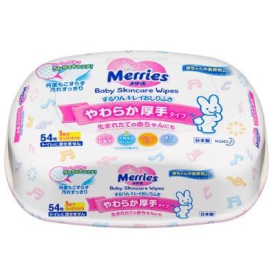 MERRIES Детские влажные салфетки Пластиковый контейнер 54шт merries детские влажные салфетки merries flushable 64 шт запасной блок