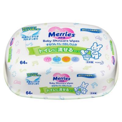 MERRIES Детские влажные салфетки Flushable Пластиковый контейнер 64шт merries детские влажные салфетки merries 54 шт пластиковый контейнер