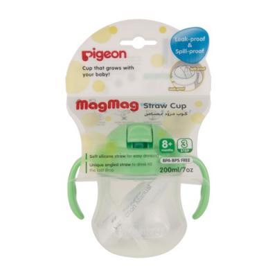 PIGEON Поильник MagMag с трубочкой 8 мес 200мл курносики кружка цветная с ручкой 6 мес 200мл  17027