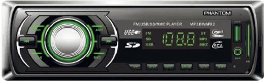 Автомагнитола Phantom BW6FR2 USB MP3 FM 1xDin 2x45Вт черный автомагнитола 12 24 bluetooth mp3 fm usb