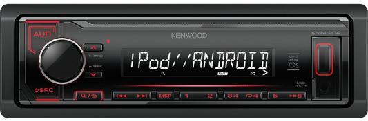 Автомагнитола Kenwood KMM-204 USB MP3 FM RDS 1DIN 4х50Вт черный автомагнитола kenwood kmm 124 usb mp3 cd fm rds 1din 4х50вт черный