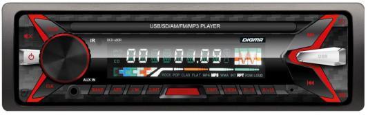 Автомагнитола Digma DCR-400R USB MP3 FM 1DIN 4x45Вт черный автомагнитола digma dcr 300b usb mp3 fm 1din 4x45вт черный