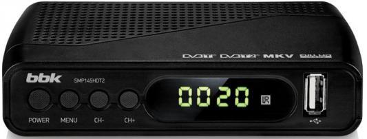 Тюнер цифровой DVB-T2 BBK SMP145HDT2 черный тюнер цифровой dvb t2 rolsen rdb 507nr красный