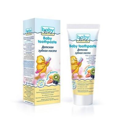 все цены на BABYLINE Детская зубная паста со вкусом Тутти-Фрутти жевачки 75 мл.