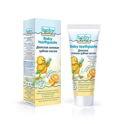 BABYLINE Детская зубная паста со вкусом апельсина 75 мл. babyline детская пенка для умывания лица рук и тела 250 мл