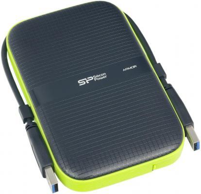 Внешний жесткий диск 2.5 USB3.0 4Tb Silicon Power Armor A60 SP040TBPHDA60S3K черный/зеленый внешний hdd silicon power armor a60 1 тб черный зеленый