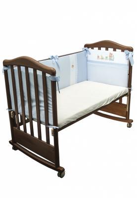 Бампер в кроватку Сонный Гномик Паровозик (голубой) борт в кроватку сонный гномик считалочка бежевый бсс 0358105 4