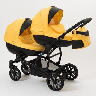 Коляска 2-в-1 для двоих детей Mr Sandman Duet (50% эко-кожа/черный перфорированный - жёлтый/9)