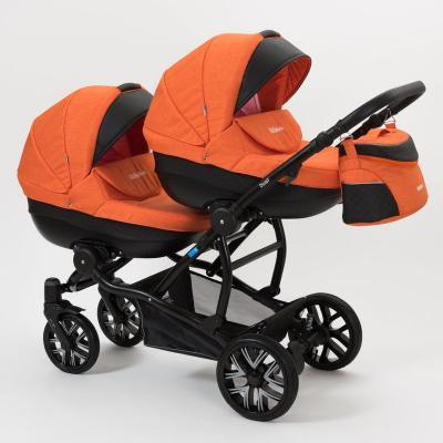 Коляска 2-в-1 для двоих детей Mr Sandman Duet (50% эко-кожа/черный перфорированный - оранжевый/7) caretto коляска 2 в 1 michelle color mc 03 caretto черный бел цветы