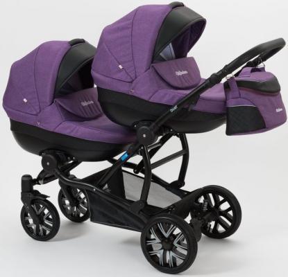 Коляска 2-в-1 для двоих детей Mr Sandman Duet (50% эко-кожа/черный перфорированный - фиолетовый/11)