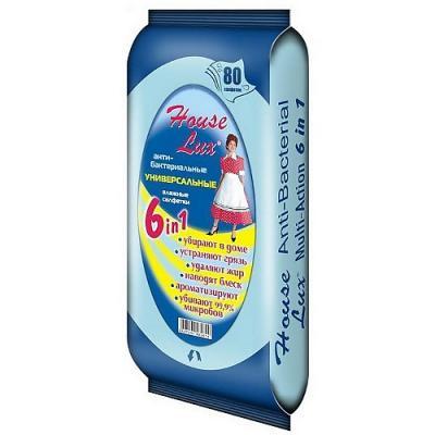 HOUSE LUX Салфетки влажные универсальные антибактериальные 6в1 80шт абена abena влажные салфетки 20х27 80шт