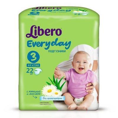 LIBERO Подгузники детские Every Day миди 4-9кг 22шт упаковка стандартная libero comfort 3 4 9 22