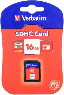 Карта памяти SDHC 16GB Class 4 Verbatim 44020 цв ol 44020 50 г