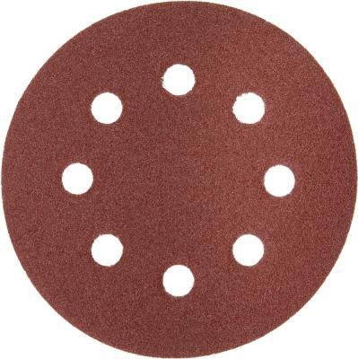 Круг шлифовальный Зубр Мастер универсальный из абразивной бумаги на велкро основе 8 отверстий Р180 125мм 5шт 35562-125-180
