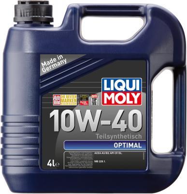 Полусинтетическое моторное масло LiquiMoly Optimal 10W40 4 л 3930 минеральное моторное масло liquimoly universal 4 takt gartengerate oil 10w 30 для газонокосилок 8037
