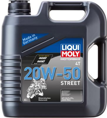 Купить со скидкой Минеральное моторное масло LiquiMoly Motorbike 4T Street 20W50 4 л 1696