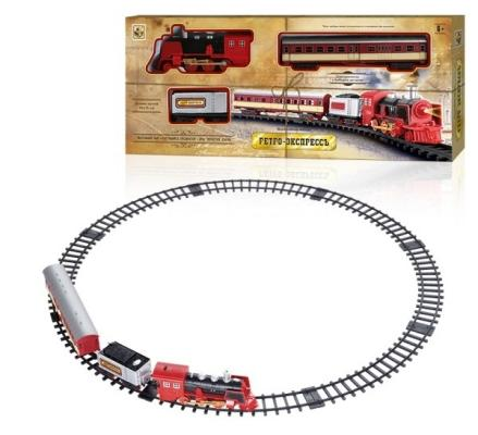 "1toy ж/д"" Ретро  Экспресс"", свет, звук, дым, паровоз, 2 вагона, 11 деталей, длина путей 76х75 см"