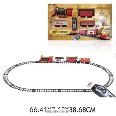 "1toy ж/д"" Ретро  Экспресс"",  свет,звук, дым, паровоз, 3 вагона, пульт д/у, 16 деталей, длина путей 148х86 см"