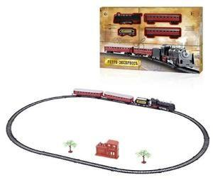 "1toy ж/д"" Ретро  Экспресс"", свет,звк, паровоз, 3 вагона, 21 деталь, длина путей 103,5х67,5 см"
