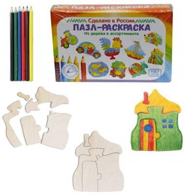 """Развивающая игрушка: Пазл-раскраска """"Хижина"""" мастер игрушек водоем"""