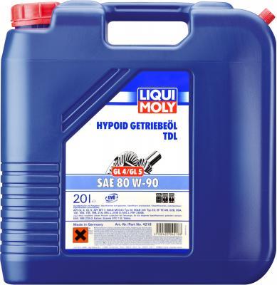 Минеральное трансмиссионное масло LiquiMoly Hypoid-Getriebeoil TDL 80W90 20 л 4218 масло трансмиссионное liqui moly hypoid getriebeoil tdl полусинтетическое 75w 90 gl 4 gl 5 1 л