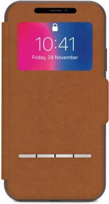 Чехол-книжка Moshi SenseCover для iPhone X коричневый 99MO072731 чехол для iphone moshi sensecover steel black 99mo072004