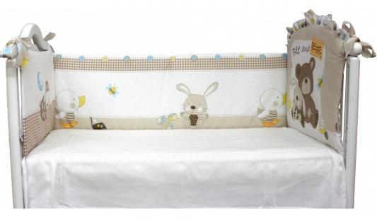 Бампер в кроватку Labeillebaby Мишка с зайкой бампер в кроватку l abeille мишка с зайкой