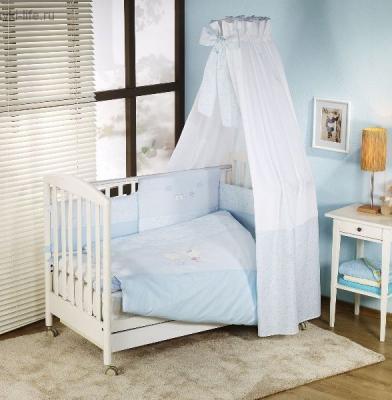Постельный сет 6 предметов Nino Elamor (blue) комплекты в кроватку nino el amor 6bb предметов