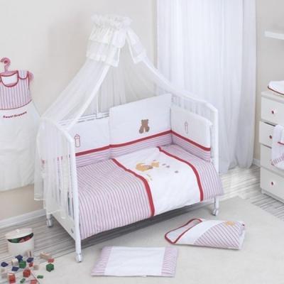 Постельный сет 6 предметов Nino Ganguro (ecru/red) комплекты в кроватку nino el amor 6bb предметов