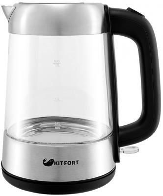 Чайник KITFORT KT-610 2000 Вт серебристый чёрный 1.7 л стекло термоконтейнер арктика 2000 30 л зеленый