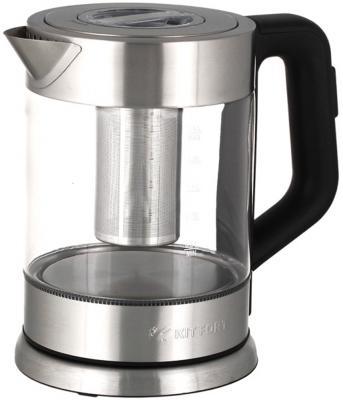 Картинка для Чайник KITFORT КТ-623 2200 Вт серебристый прозрачный чёрный 1.5 л металл/стекло