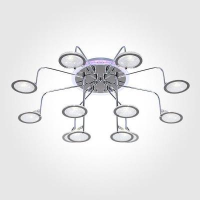 Купить Потолочная люстра с пультом ДУ Eurosvet Spider 80109/12 хром/синий+фиолетовый