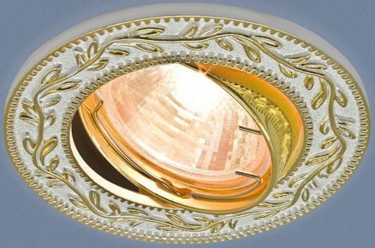 Встраиваемый светильник Elektrostandard 713 MR16 WH/GD белый/золото 4690389060717 встраиваемый светильник elektrostandard 7010 mr16 wh gd белый золото 4690389099250