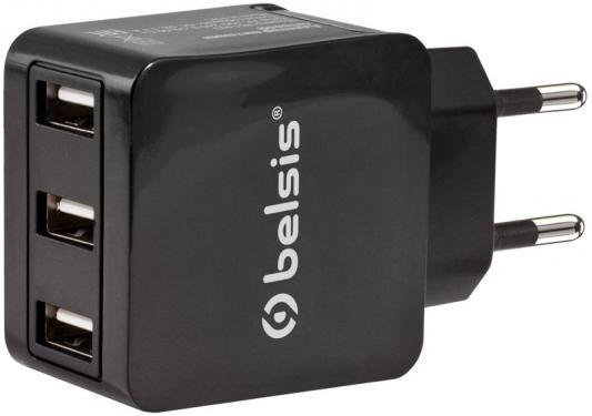 Сетевое зарядное устройство Belsis BS1403 3 x USB 3.1А черный сетевые фильтры belsis сетевой удлинитель 4 розетки 4 usb порта длина 1 500