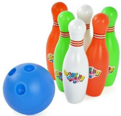 Набор для игры в боулинг 13 см, мяч, 6 кеглей рыжий кот игровой набор 9 кеглей на держателе и большой мяч