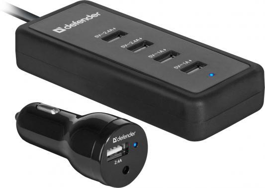Автомобильное зарядное устройство Defender ACA-02 5 х USB 9.2А черный 83568 автомобильное зарядное устройство buro tj 201b 2 х usb 4 8 а черный