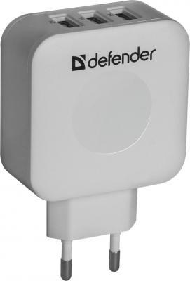 Сетевое зарядное устройство Defender UPA-30 3 x USB 4A белый 83535 автомобильное зарядное устройство defender uca 03 4a 3 x usb белый 83570