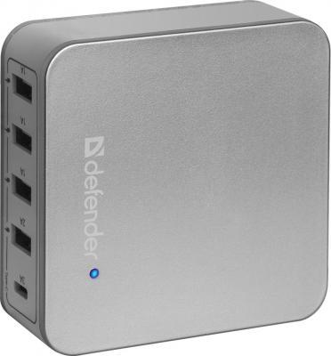 Сетевое зарядное устройство Defender UPA-50 4 x USB USB-C 8А серебристый 83538 сетевое зарядное устройство defender upa 40 5а 4 x usb черный