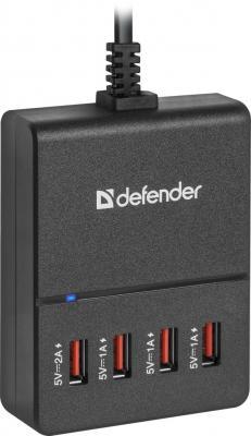 Сетевое зарядное устройство Defender UPA-40 4 x USB 5А черный сетевое зарядное устройство defender upa 40 5а 4 x usb черный