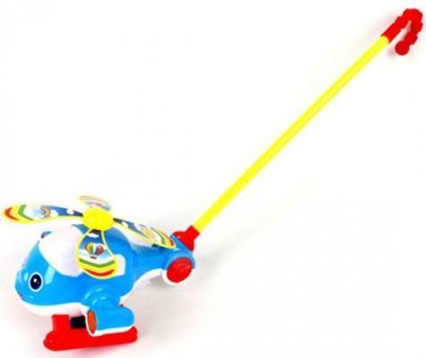Каталка на палочке Наша Игрушка Вертолетик синий от 6 месяцев пластик 0362 каталка на палочке наша игрушка пилот пластик от 1 года на колесах красный 8500 1