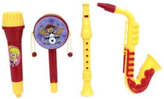 Набор инструментов с саксофоном, 4 предм., пакет, Наша Игрушка, желтый, Детские музыкальные инструменты  - купить со скидкой
