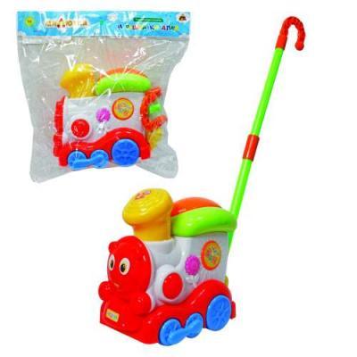 Каталка на палочке Тилибом Паравозик разноцветный от 1 года пластик т80590 каталка на палочке karolina toys колесо пластик от 1 года разноцветный 40 0032